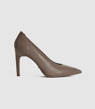 Reiss LOWRI LEATHER POINT TOE COURT SHOES Mid Grey