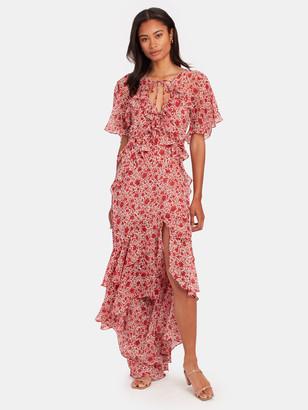 MISA Katarina Silk Chiffon Asymmetrical Midi Dress