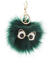 Charlotte Russe Cat Eyes Faux Fur Ball Keychain