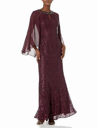 SL Fashions Women's Long Sequin Dress with Capelet