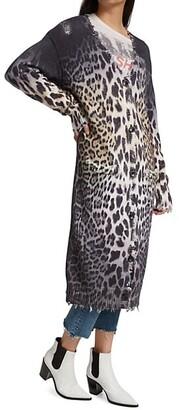 R 13 Faded Leopard Cardigan Dress