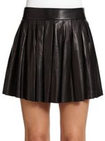Pleated Leather Skirt - ShopStyle