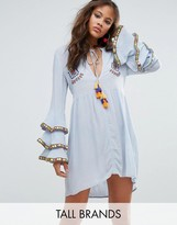 Glamorous Tall Embroidered Smock Dress With Frill Layered Sleeve Detail