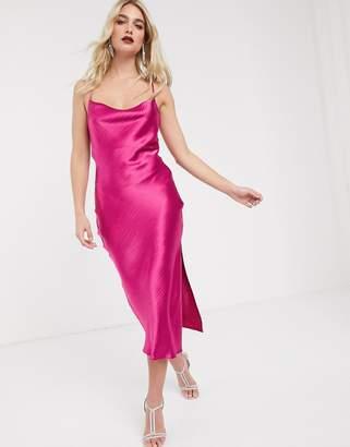 Asos Design DESIGN cami midi slip dress in high shine satin with lace up back-Pink