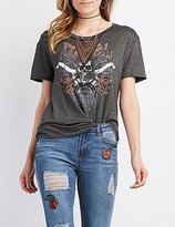 Charlotte Russe Mesh-Inset Graphic Tee