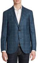 Luciano Barbera Slim-Fit Windowpane Wool, Silk & Linen Sportcoat