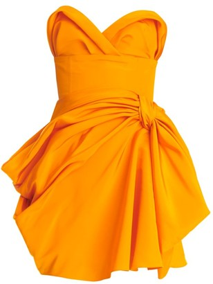 Carolina Herrera Strapless Gathered Silk Mini Dress