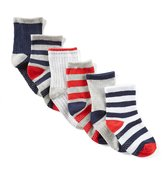 Starting Out Baby Boys 6-Pack Striped/Solid Crew Socks