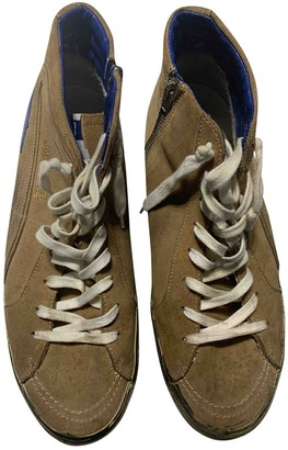 Golden Goose Slide Camel Leather Trainers