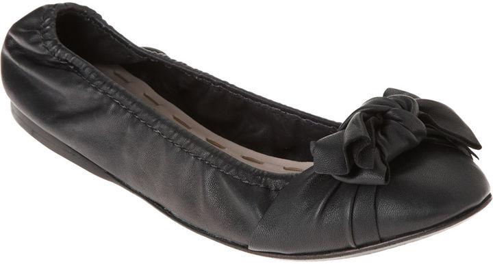 Miu Miu Bow Scrunch Ballet Flat - Black