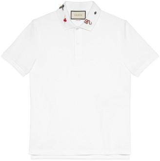 Gucci Embroidered cotton polo