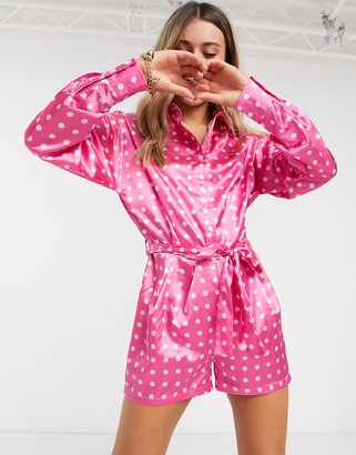 John Zack collar detail long sleeve playsuit in pink polka print