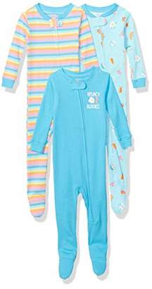 Spotted Zebra 3-Pack Snug-fit Cotton Footed Sleeper Pajamas Set