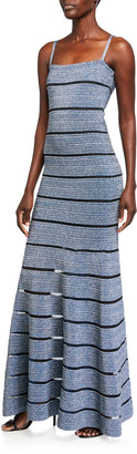 Herve Leger Shimmer Bandage-Knit Sleeveless Square-Neck Gown