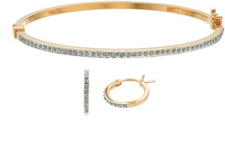 Diamond Mystique Bangle Bracelet & Hoop Earring Set
