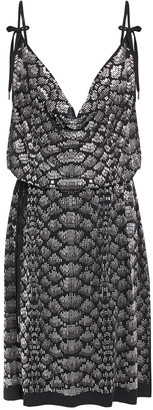 Just Cavalli Bow-detailed Studded Stretch-jersey Dress