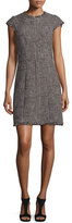 Rebecca Taylor Patchwork-Houndstooth Fringe-Trim Dress, Teaberry Combo