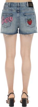 Gucci Washed Cotton Denim Shorts