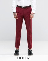 Farah Skinny Suit Trousers In Burgundy