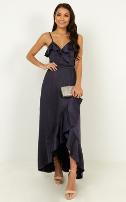 Showpo Wrapped up dress in navy - 4 (XXS) Bridesmaid