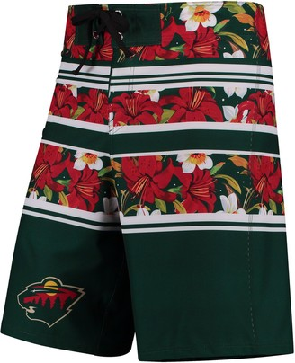 Men's Green Minnesota Wild Floral Stripe Boardshorts