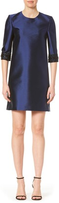 Carolina Herrera Embroidered Cuff Shift Dress