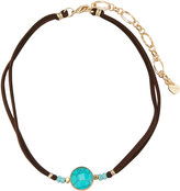 Nakamol Leather Choker Necklace w/ Turquoise-Hued Stone