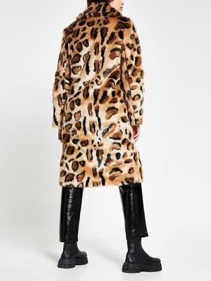 River Island Leopard Print Faux Fur Coat - Beige