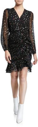 Diane von Furstenberg Bea Metallic Ruched Flounce Dress
