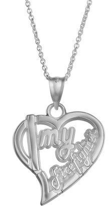 """Insignia Collection Sterling Silver """"I Love My Firefighter"""" Heart Pendant Necklace"""