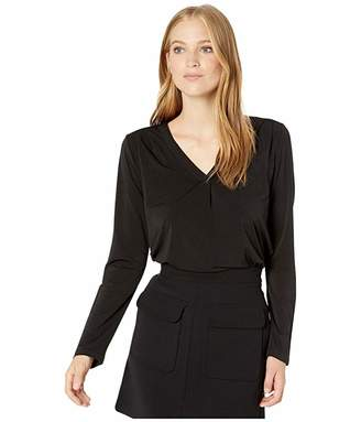 Michael Stars Cambria Crepe Knit Lena Long Sleeve Shirt with Pleats