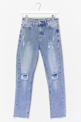 Nasty Gal Womens Cool Mom Distressed Acid Wash Jeans - Blue