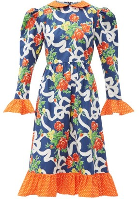 Batsheva Prairie Floral-print Cotton Midi Dress - Womens - Navy Multi