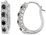 Julie Leah 1/2 CT TW Black and White Diamond 10K White Gold Cuff Earrings