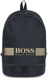 HUGO BOSS Backpack In Structured Nylon With Logo Artwork - Dark Blue