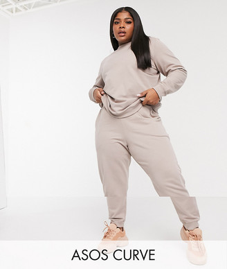ASOS DESIGN Curve tracksuit ultimate sweat / trackies with tie in organic cotton in stone