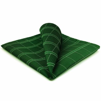"""S&W Shlax&Wing Shlax&Wing Green Checkered Mens Pocket Square Unique Design Large 12.6"""" For Business"""