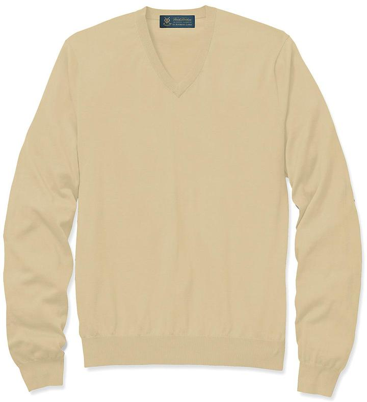 Brooks Brothers St Andrews Links Silk and Cotton V-Neck Sweater
