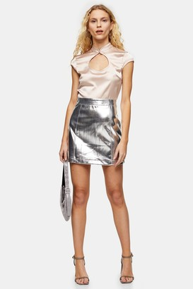 Topshop Silver PU Mini Skirt