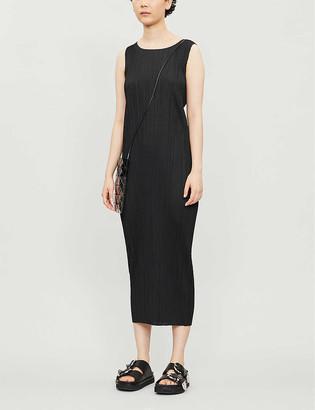 Pleats Please Issey Miyake Sleeveless satin pleated midi dress