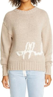 Off-White Intarsia Script Logo Alpaca Blend Sweater