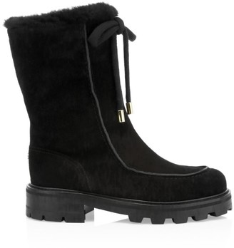Jimmy Choo Buffy Shearling-Trim Suede Boots