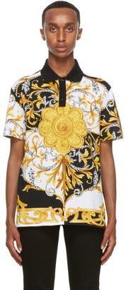 Versace Gold and White Barocco Taylor-Fit Polo