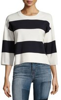 J Brand Estero Striped Merino Wool 3/4-Sleeve Sweater, Cream/Black Iris