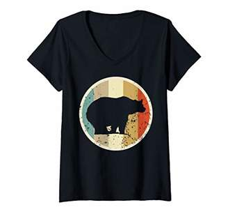 Womens Cute Grizzly Brown Bear V-Neck T-Shirt