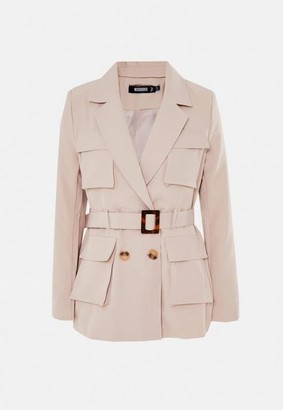 Missguided Sand Mock Tortoiseshell Belted Utility Jacket
