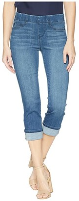 Liverpool Petite Chloe Wide Cuffed Pull-On Crop in Premium Silky Soft Stretch Denim in Harlow (Harlow) Women's Jeans