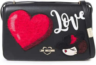 Love Moschino Appliqued Faux Leather Shoulder Bag