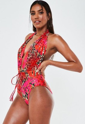 Missguided Red Palm Animal Print Halterneck Plunge Swimsuit