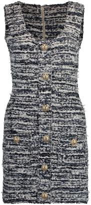 Balmain Short Buttoned Tweed Dress